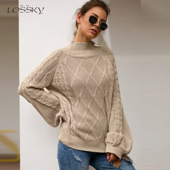 Lossky Women Autumn Winter Warm Knitted Half Turtleneck Sweaters Long Sleeve Pullovers Ladies Loose Yellow Tops Clothing 2019