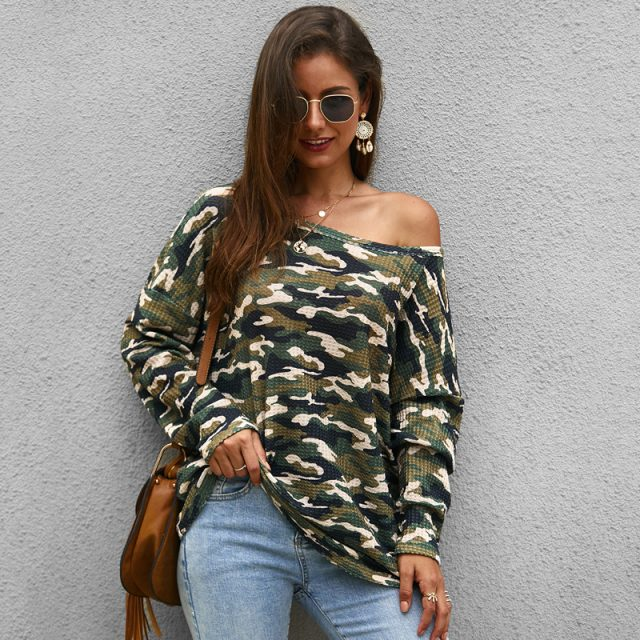 Lossky Knitted Sweater Women Autumn Long Sleeve Fashion Pink Camouflage Print Ladies Pullovers Tops Loose Clothing Knitwear 2019
