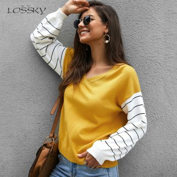 Lossky Women Striped Patchwork Pullover Sweater Female V-neck Fashion Autumn Winter Long Sleeve Clothing Yellow Ladies Top 2019