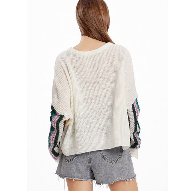 Lossky Women Sweaters Long Sleeve Stitching Color Auntumn Spring Casual Sweaters Loose White Red Wild Slim Pullover Tops Female