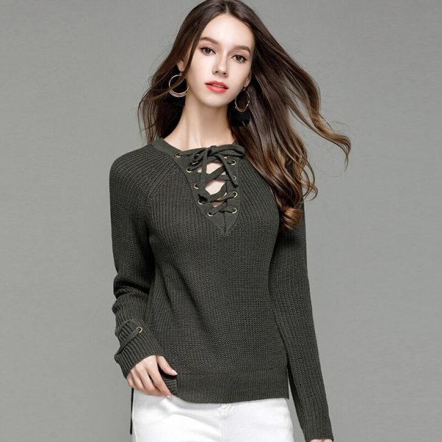 Lossky Sweater V-neck With Cross Bandage Women Long Sleeve Thick Pullovers FemaleAutumn Winter Casual Clothing Ladies Top 2019