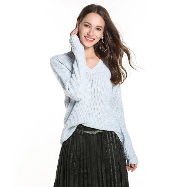 Lossky Knitted Sweater Women V Neck Long Sleeve Pullover Top New Autumn Winter Loose Pink Black Warm Clothing Female Simple 2019