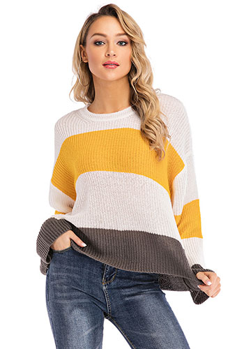 Long Sleeve Auntumn Spring Casual Stitching Large Size Elegant Lady Yellow Pullover Sweater