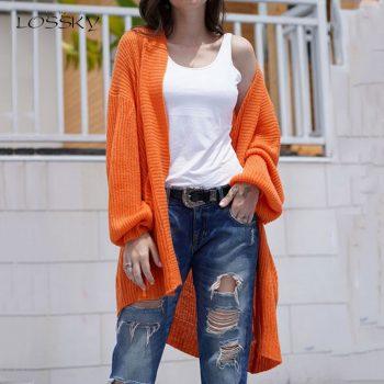Lossky Long Sweater Cardigan Women Knitted Long Sleeve Autumn Winter Coats Oversize Casual Office Ladies Warm Outwear Streetwear