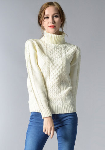 Women Knitted Sweater Long Sleeve Turtleneck Autumn Winter Warm Pullover Top Feminine Casual Knitwear