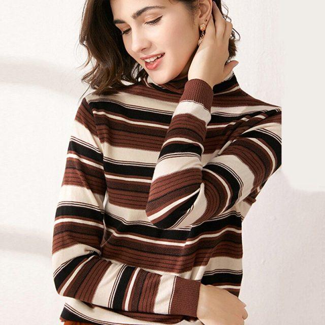 Sweater Women Long Sleeve Yellow Striped Pullovers Plus Size Turtleneck Ladies Top Autumn Winter Wear