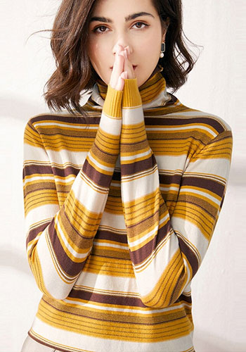 Sweater Women Long Sleeve Yellow Striped Pullovers Plus Size Turtleneck Ladies Top Autumn Winter Wear