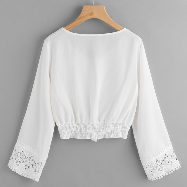 Autumn Womens Tops and Blouses Tunic White Lace Floral V Neck Flare Sleeve Crop Tops 2018 Beach Long Sleeve Shirt Women Clothes