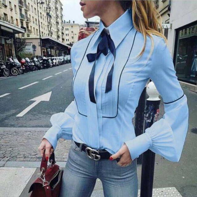 Office Bow Tie Blouse Women Lantern Sleeve White Button Necktie Shirts Female Elegant Work Shirt Casual Tops New 2018 Spring