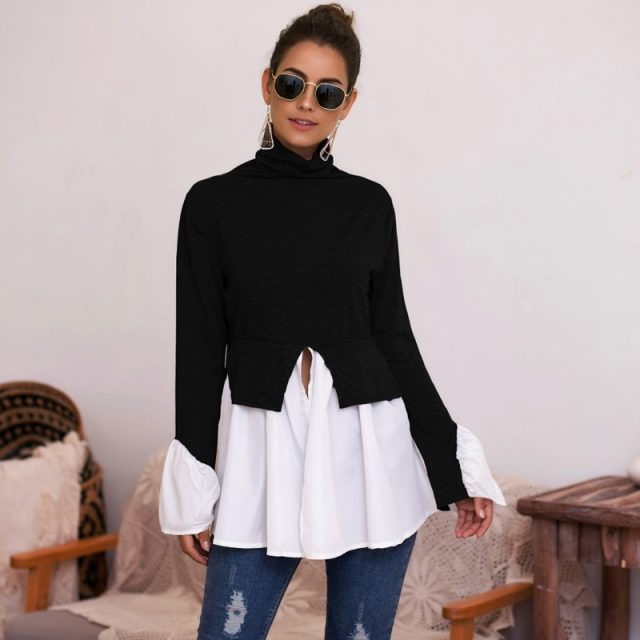 Lossky Shirts Women Top Long Sleeve Patchwork Blouse Autumn Turntlenck Clothing Front Slit Irregular Red Ladies Tunic Streetwear