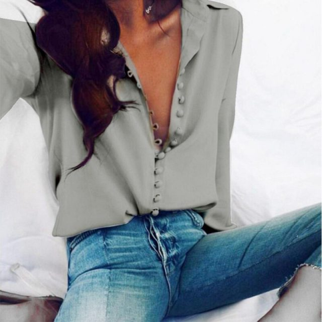 Lossky Women Shirt Sexy Autumn Buttons V Neck Turn-down Collar Long Sleeve Blouse Plus Size 5XL White Ladies Office Cardigan Top