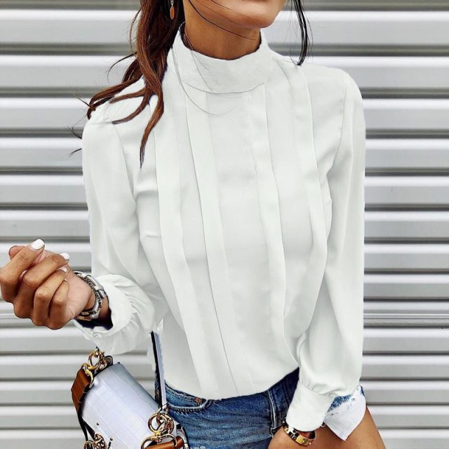 Lossky Women Shirt Autumn Fashion Turtleneck Top Female Long Sleeve Blouse White Shirt Casual Loose Ladies Clothing Elegant 2019