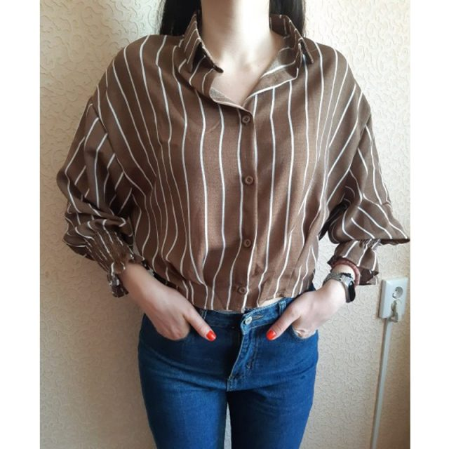 2017 Autumn Spring Vintage Shirts Women Striped Slim Stand collar Women Casual Shirts Ladies Classic Style Shirts Female Loose