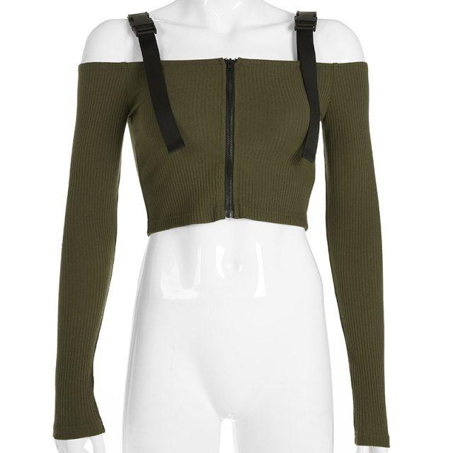 Lossky Spring T Shirt Women Long Sleeve Shirt Cotton T-shirt Crop Top Korean Fashion Style Feminina Black Sexy Short Tops 2019