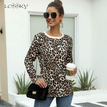 Lossky T Shirt Autumn Fashion Women Leopard Print Top Female Casual Long Sleeve Vogue Ladies Fall Clothes Tee Shirt 2019 Vintage