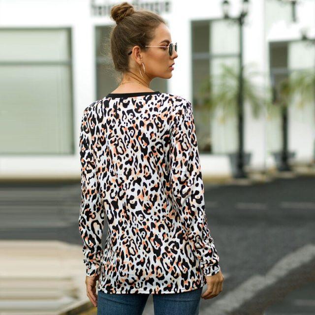 Lossky T Shirt Autumn Fashion Women Leopard Print Top Female Casual Long Sleeve Vogue Ladies Fall Clothes Tee Shirt 2019 Vintage