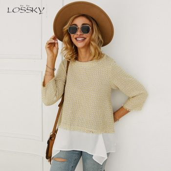 Lossky T Shirt Women Autumn Three Quarter Sleeve Tee Shirt Femme 2019 Vogue Ladies Plaid Tweed Casual Fall Clothes Stitching Top
