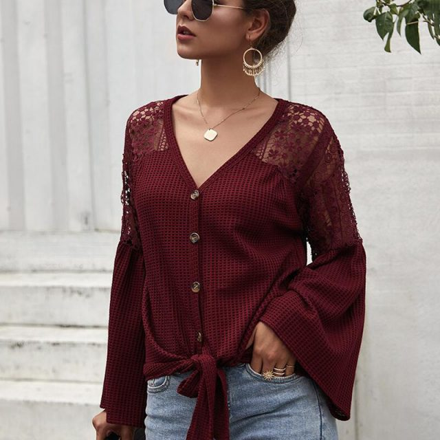 Lossky Woman T-shirt Sexy Hollow Out V-neck Top Female Long Sleeve Tee Shirts Fashion Casual pure Ladies Slim Clothing 2019