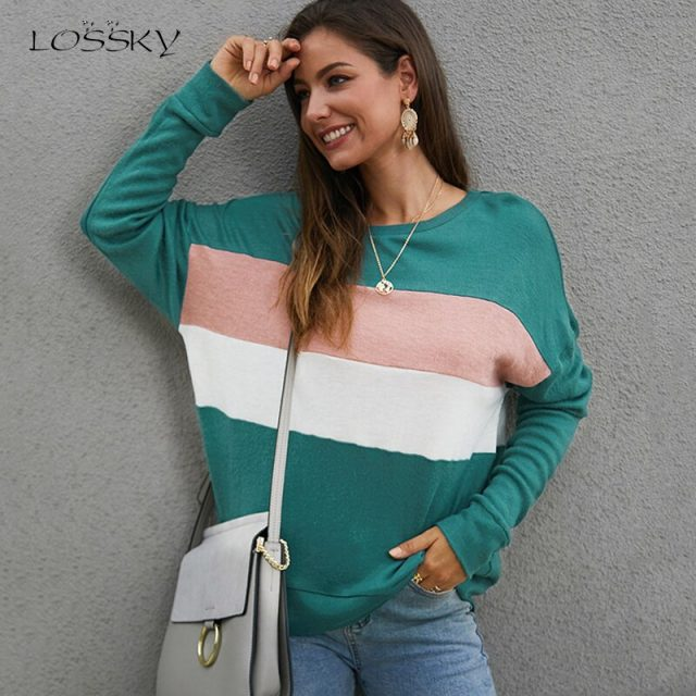Lossky T-shirts Women Long Sleeve Autumn Winter Knit Tops Fashion Stripe Patchwork Female Clothing Casual Ladies Tee Shirt 2019