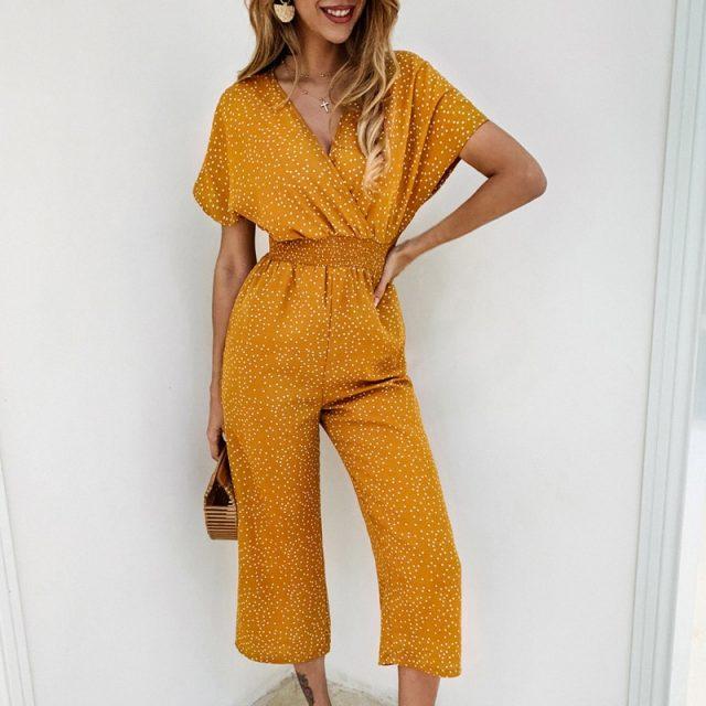 Lossky Women Jumpsuits Rompers Summer Casual Print V-neck Pocket Overalls Jumpsuit Boho Chi Short Sleeve Wide Leg Loose Jumpsuit