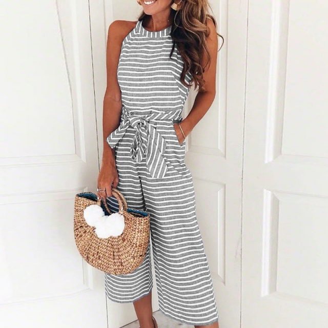 Lossky Rompers Women Striped Printed Lace-up Pocket O-neck Sleeveless Long Wide Leg Pants Zip Summer Black Pink Overalls Female