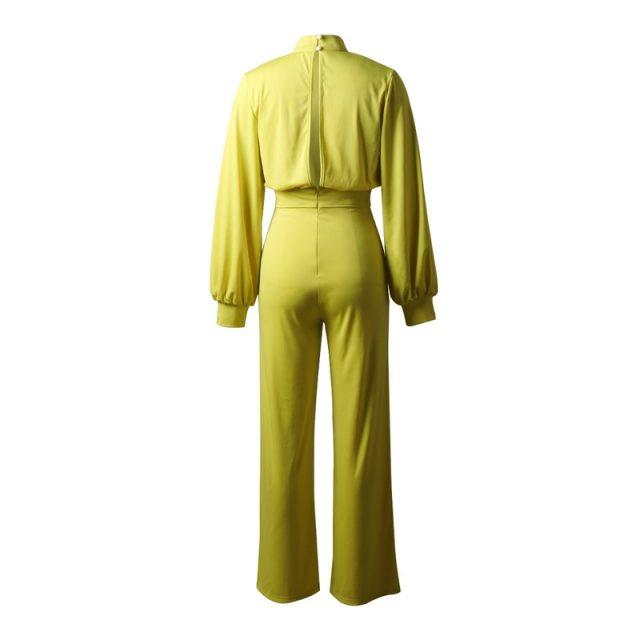 Lossky Jumpsuit 2019 Women Long Sleeve Long Pant White Ladies Romper Suit Elegant Half Turtleneck Wide Leg Trouser Fall Clothing