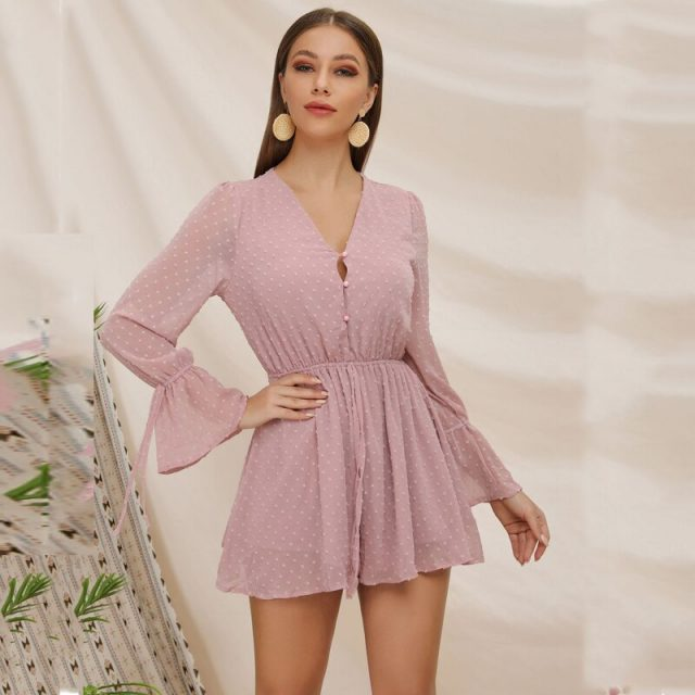 Lossky Summer Short Women Jumpsuits Rompers Chiffon V Neck Horn Long Sleeve Button Lace-up Casual Slim Beach Mini Jumpsuit 2019