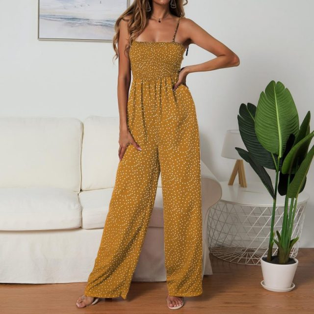 Lossky Rompers Womens Jumpsuit Polka-dot Print Bow-knot Straps Wide-leg Pants Jumpsuit Boho Chi Loose Long Red Summer Jumpsuits