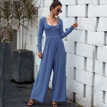 Lossky Women Rompers Jumpsuit Striped Print Sexy U-neck Long Sleeve Autumn Suits Female Loose Ladies Wide-leg Long Pant Clothing