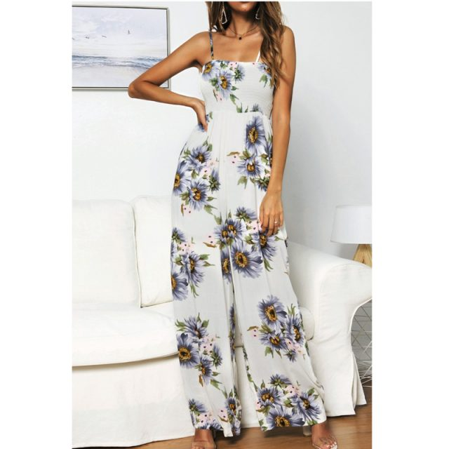 Lossky Rompers Womens Jumpsuit Boho Chi Floral Printed Pleated Wrap Bow Straps Long Jumpsuits High Waist Wide-leg Pants Jumpsuit