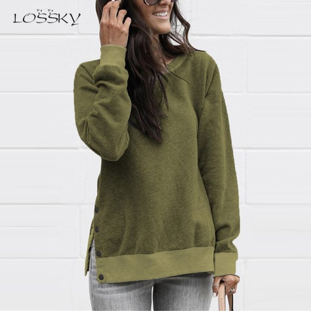 Lossky Sweatshirts Women Long Sleeve Autumn Pullover Tops Female New Side Slit With Buttons casual Ladies Simple Clothing 2019