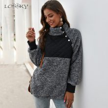 Lossky Sweatshirts Women Long Sleeve Patchwork Color Fahsion Autumn Winter Pullover Black Ladies Plush Warm Tops Clothing 2019