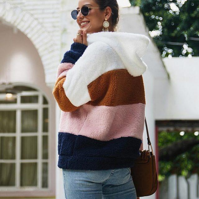Lossky Women Hoodies Sweatshirt Striped Patchwork Ladies Long Sleeve Pullover Plush Top Autumn Winter Female  Warm Clothing 2019