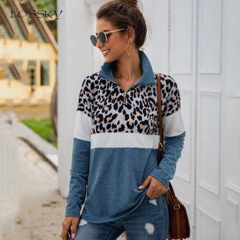 Lossky Women Sweatshirt Autumn Winter Pullovers Vintage Leopard Patchwork Zipper Ladies Long Sleeve Fall 2019 Tops Clothes Femme