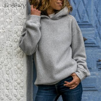 Lossky Hoodies Sweatshirts Women Long Sleeve Autumn Winter Pullover Tops Female Fashion Solid Color Casual Ladies Clothing 2019