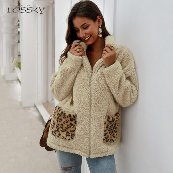 Lossky Sweatshirt Tops Women Winter Thick Warm Jacket Ladies Pocket Stitching Zip Up Pastel Oversized Plush Clothes Coats 2019