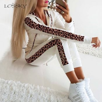 Lossky Women Two Piece Set Sexy Leopard Patchwork Long Sleeve 2019 Autumn Winter Casual Trousers Suit Warm Fall Leisure Outfit