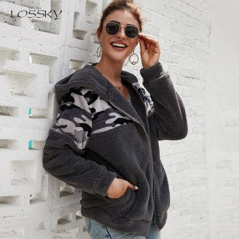 Lossky Hoodies Women Tops Stitching Long Sleeve Hoody Zipper Sweatshirts Ladies Fall Winter Warm Pastel Clothes Jacket Coat 2019