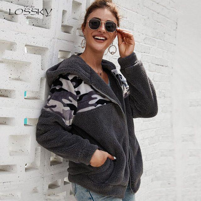 Lossky Hoodies Women Tops Stitching Long Sleeve Hoody Zipper Sweatshirts Ladies Fall Winter Warm Pastel Clothes Jacket Coat 2019