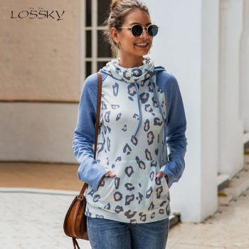 Lossky Sweatshirt Hoodies Tops Women Autumn Winter Leopard Printed Slim Fit Clothes Pockets Ladies Fall Thick Warm Pullover 2019