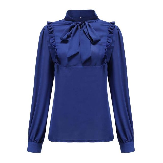 Lossky Two Piece Outfits Women Skirts And Chiffon Blouse Sets Autumn Winter Long Sleeve Office Ladies Fall Clothes With Bow 2019