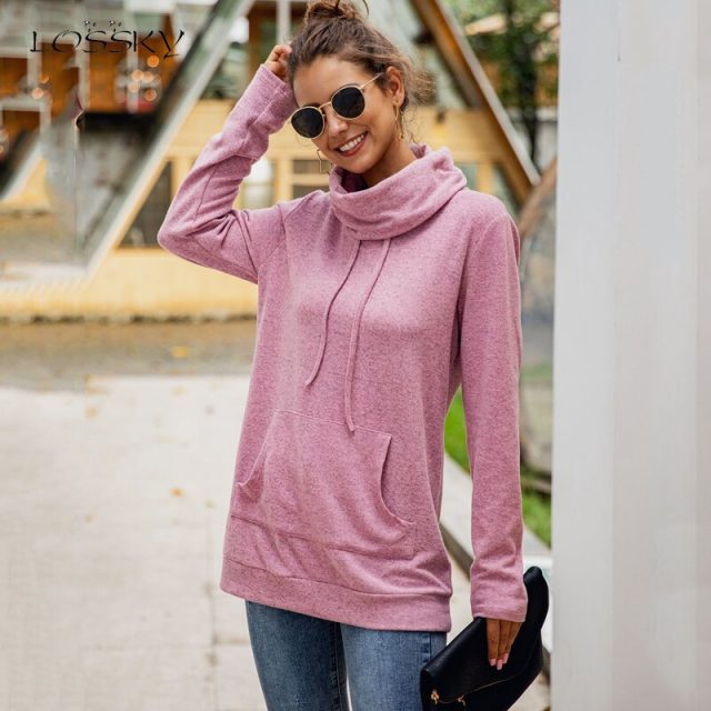 Lossky Sweatshirt Top Women Fall Turtlenck Long Sleeve Pullover Tether Pocket Pink Autumn Solid Color Leisure Clothes Femme 2019