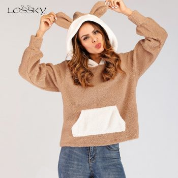 Lossky Hoodies Top Women Patchwork Long Sleeve Sweatshirts With Rabbit Ears Ladies Autumn Winter Teddy Plush Pullovers Clothing