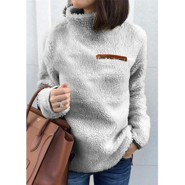 Lossky Women Sweatshirts Autumn Winter Top Long Sleeve Plush Warm Pullover Tunic Female Pink Ladies Clothing Zipper Streetwear