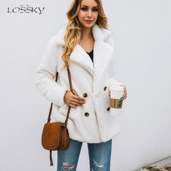 Lossky Women Long Sleeve Autumn Winter Thick Warm Jacket Coats Plus Size Loose Button Pocket Pink Lady Plush Flannel Overcoat