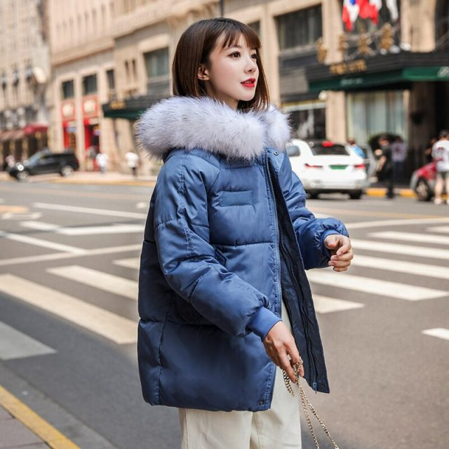 Lossky New Design Korean Style Winter Loose Parkas Women Cotton Thick Outwear Female Regular Coats Hooded Faux Fur Collar Parka