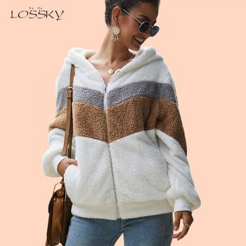 Lossky Hoodie Sweatshirt Top Women Striped Patchwork Jacket Long Sleeve Plush Outwear Female Autumn Winter Ladies Warm Clothing