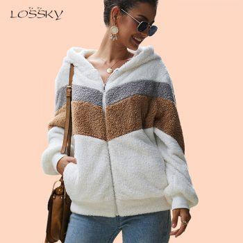 Lossky Hoodie Sweatshirt Top Women Striped Patchwork Jacket Long Sleeve Plush Outwear Female Autumn Winter Ladies Warm Clothing