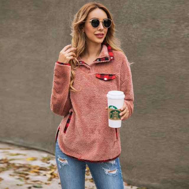 Lossky Patchwork Teddy Sweatshirt Women Autumn Winter Plush Warm Tops leisure Ladies Sweatshirts Clothing 2019 Female