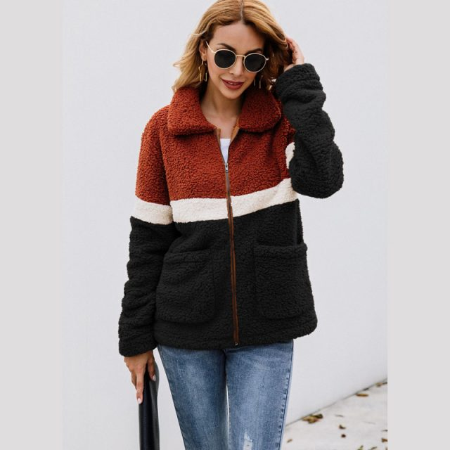 Lossky Women Autumn Winter Plush Jacket Coats Long Sleeve Flannel Warm Outwear Female New Patchwork Streetwear Ladies Clothing
